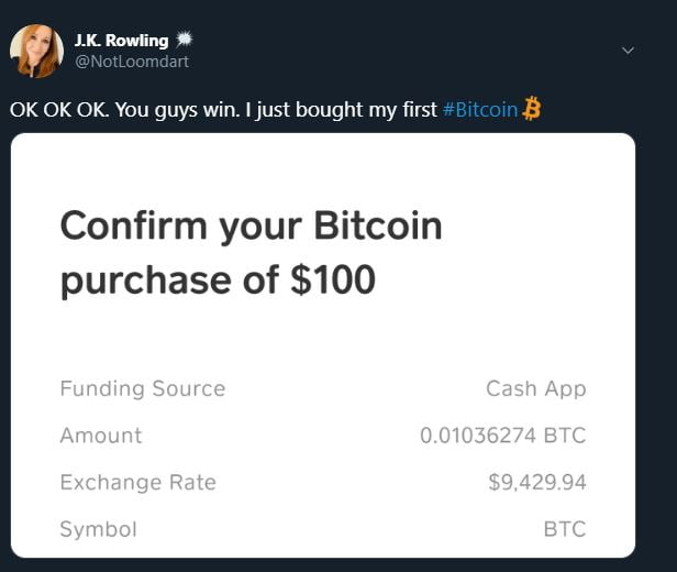 Crypto Twitter Tries, Fails at Explaining Bitcoin (BTC) to J.K Rowling 8