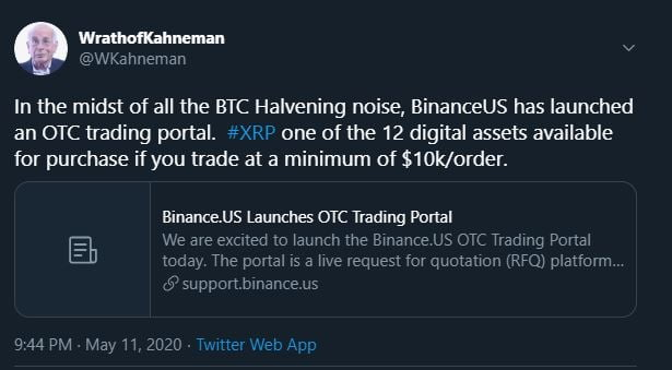 XRP OTC Trading Now Available on Binance.US 13