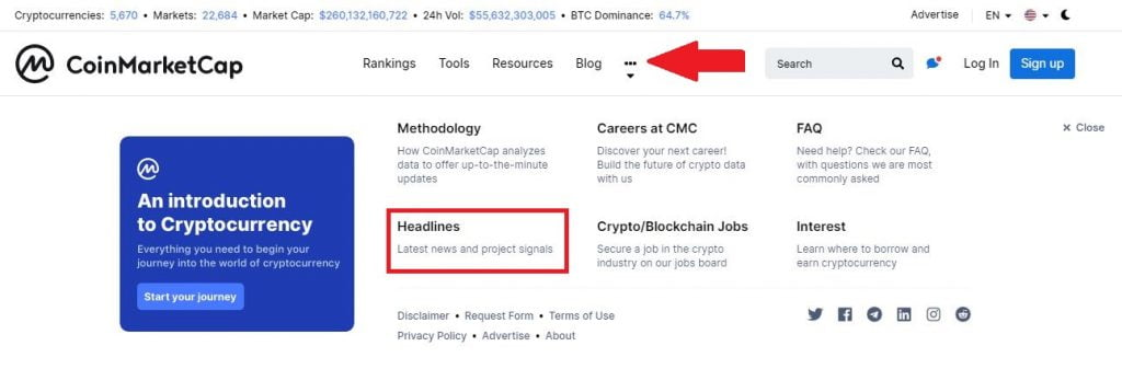 Coinmarketcap Introduces a 'Headlines' Section for Crypto News Updates 14