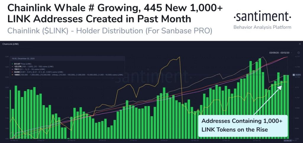 ChainLink Addresses Holding 1,000+ LINK Increase by 445 in 1 Month 16