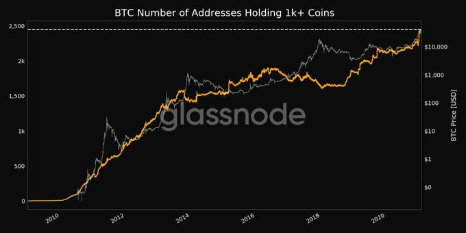 Bitcoin Addresses Holding 1k+ BTC Increases by 6% in 28 Days 11