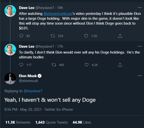 Elon Musk: I Haven't and Won't Sell any Dogecoin (DOGE) 15