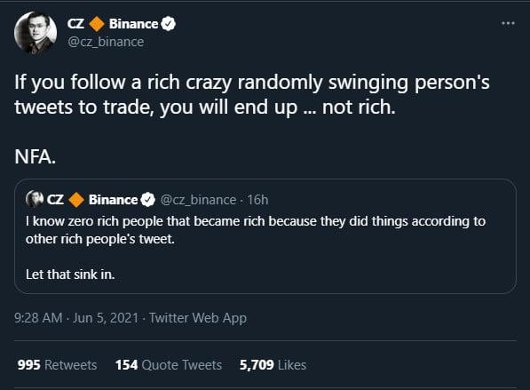 PDG de Binance : vous ne serez pas riche en utilisant les tweets d'une personne riche pour trader 16