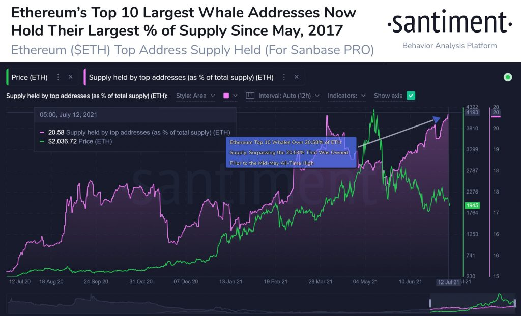Ethereum's Top 10 Whales Keep Accumulating ETH, Now Hold 20% of Supply 16